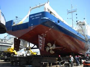 "Completing under-water hull and machinery repairs on Scripps Institution of Oceanography's ""R/V New Horizon"" at Bay Ship & Yacht's shipyard in Alameda, CA."