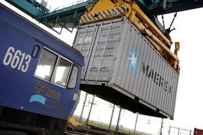 Container operations: Image courtesy of Maersk
