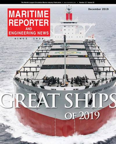 Corona Youthful graced the cover of the December 2019 edition of Maritime Reporter & Enginering News. (Image: Maritime Reporter & Engineering News)