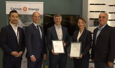 Corvus Energy proudly displays the MSA granted by DNV GL. Left to right: From DNV GL, Ham Kwang Nam, JSS Project Manager and Anders Mikkelsen, Director of Business Development; and from Corvus Energy, Brian Baker, Principal Engineer, Battery Safety & Regulation Compliance, Mariella Deltcheva, Plant Manager and Abbas Nouri Zenouz, QHSE Director.