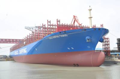 COSCO SHIPPING Taurus, one of COSCO SHIPPING's 20,000 teu capacity containerships (Photo: Shell Marine)