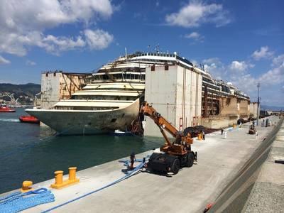 Costa Concordia moored Genoa: Photo courtesy of TITAN Salvage