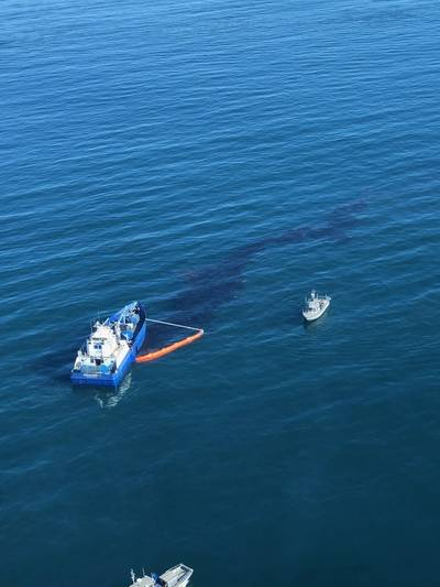 Crude oil is shown in the Pacific Ocean offshore of Orange County, Oct. 3, 2021. / Official U.S. Coast Guard photo.