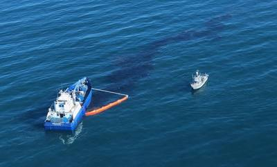 Crude oil is shown in the Pacific Ocean offshore of Orange County, Oct. 3, 2021.  U.S. Coast Guard photo (Cropped)