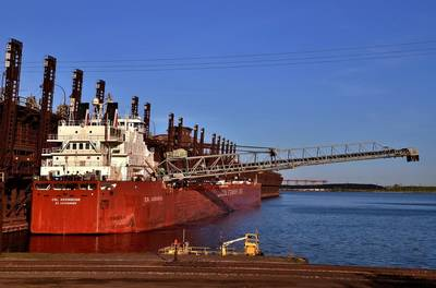 CSL Assiniboine loading iron ore at the CN/Duluth dock. Photo by Diane Hilden/courtesy Duluth Seaway Port Authority