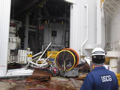 Damage Inspection: Photo credit USCG