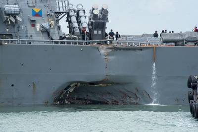Damage to the portside of destroyer USS John S. McCain (DDG 56) following a collision with the merchant vessel Alnic MC in August 2017 (U.S. Navy photo by Joshua Fulton)