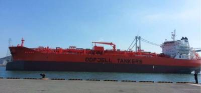 Delivered to Odfjell in the third quarter was Bow Trident, the third of four coated chemical tankers from the Hyundai Mipo yard in South Korea (Photo courtesy of Odfjell)