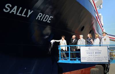 Dick Nelson is second from left, during the christening of auxiliary general oceanographic research (AGOR) vessel R/V Sally Ride (AGOR 28) at Dakota Creek Industries in 2014. (Photo: John F. Williams / U.S. Navy)