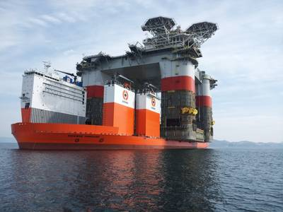 'Dockwise Vanguard' at work: Photo courtesy of Boskalis