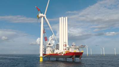 Dominion Energy's new Wind Turbine Installation Vessel, due for delivery by the end of 2023, will be built by Keppel AmFELS and fitted with Kongsberg Maritime's field-proven integrated solution for WTIV operation - Credit: Kongsberg Maritime