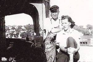 Don Horton's mother, Sadie O. Horton, and father, Capt William L. Horton, sitting on the stern of a barge around 1942. Photo courtesy Don Horton.