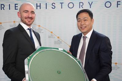 Dr Nathan Kundtz, Kymeta President and CTO (left) and Eric Sung, Intellian President and CEO to create ku-band maritime satellite terminals