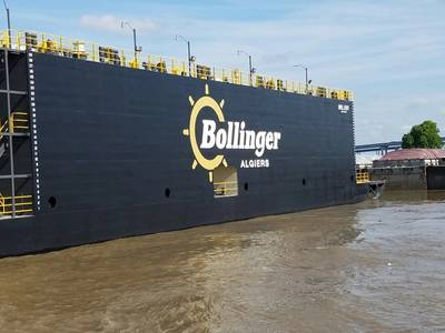 Drydock Mrs. Jody arrives at Bollinger Algiers. (Photo: Bollinger Shipyards)