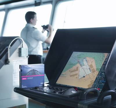 ECDIS and the ADMIRALTY Vector Chart Service on the bridge of a ship.