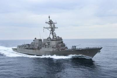 The Arleigh Burke-class guided-missile destroyer Pre-Commissioning Unit (PCU) Delbert Black (DDG 119) conducts the second builder's trials in the Gulf of Mexico in February. (U.S. Navy photo courtesy of HII by Lance Davis)
