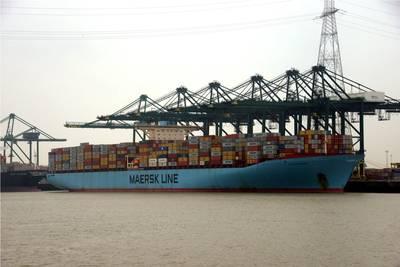 Eleonora Maersk at the Deurganckdok Pic by port of Antwerp