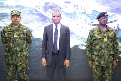 Director General, Nigerian Maritime Administration and Safety Agency (NIMASA), Dr. Bashir Jamoh flanked by Flag Officer Commanding, Western Naval Command, Rear Admiral Oladele Bamidele Daji (Right) and Navy Hydrographer, Rear Admiral Chukwuemeka Okafor (left) during a working visit by the Western Naval Command to NIMASA.