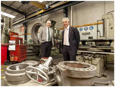 EnerMech managing director Doug Duguid (left) with Valve Tech managing director Chris Tabone.