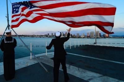 Ensign raised: Photo USN