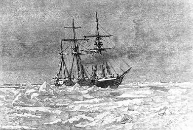 """Entering the Ice"" Engraving by George T. Andrew after a design by M.J. Burns, copied from ""The Voyage of the Jeannette ..."", Volume I, page 117, edited by Emma DeLong, published in 1884. It depicts USS Jeannette entering the Arctic Ice, near Herald Island (about 72N, 175W), on 6 September 1879. (U.S. Naval Historical Center Photograph.)"