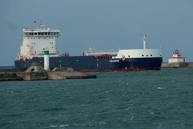 Equinox Class ship Algoma Harvester entering harbour at Port Colborne (CNW Group/Algoma Central Corporation)