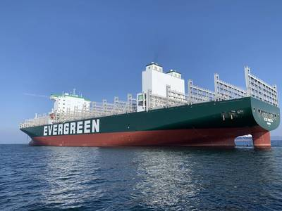 Ever Forever is the sixth containership of Evergreen Line's F-type series. Built at the Geoje Shipyard of Samsung Heavy Industries, its twin-island hull design broadens the view from the navigation bridge and increases cargo loading capacity. (Photo: Evergreen Line)
