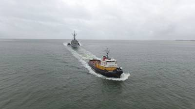 Ex-USS Taylor was towed from Philadelphia to Charleston by Crowley's Invader class tug Monitor (Photo: Crowley)
