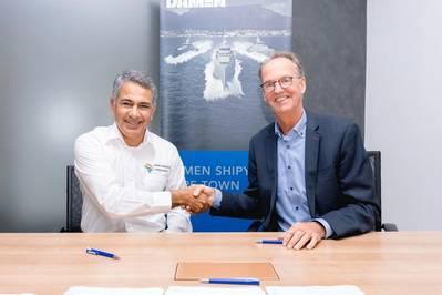 Refaan Hendricks (Managing director, Africa Projects Consultants), Jaap de Lange (Managing director, Damen Shipyards Cape Town) (Photo: Damen)