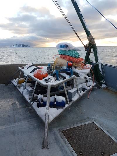 FAST-3 underwater sensor platform gets ready for deployment near the FORCE test site in the Minas Passage, NS (Photo: FORCE)