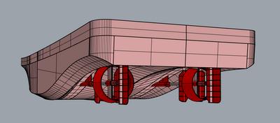 Figure 1 – Pushboat hull (Image: HydroComp)