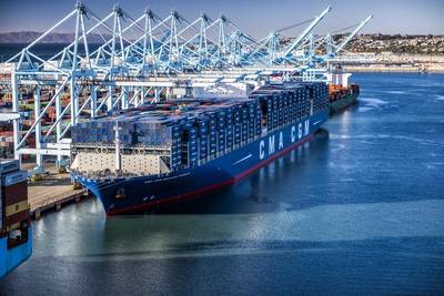 File Image: A CMA CGM boxship alongside during cargo operations (credit: Marad)