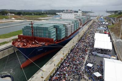 file image: A containership in the Panama Canal (CREDIT:CH2M)