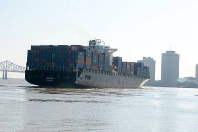 File Image: A containership transits the Port of New Orleans on a better day. Image CREDIT: Port NOLA