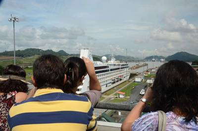 File Image: A cruise vessel passes through the Panama Canal. CREDIT: ACP