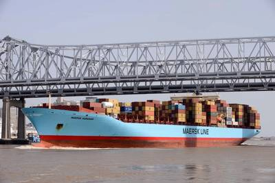 File image: a Maersk boxship in the port of New Orleans (credit: port of New Orleans)