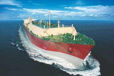 File Image: A typical LNG carrier underway at sea (CREDIT: QGTC)