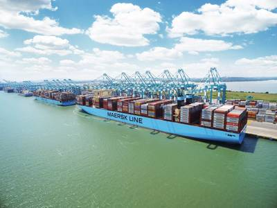 File Image: A typical Maersk boxship works cargo alongside a pier. (CREDIT: Maersk)
