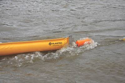 File Image: a typical spill boom as deployed (CREDIT: Elastec)