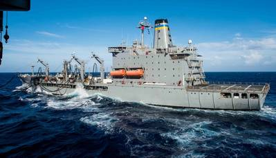File Image / a USNS fleet oiler on station: Credit US Navy