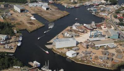 File Image: An aerial view of Horizon Shipbuilding's Bayou La Batre, Alabama facilities. CREDIT: Horizon Shipbuilding