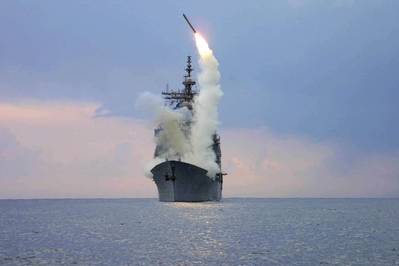 File photo: A Tomahawk Land Attack Missile (TLAM) is launched from the guided missile cruiser USS Cape St. George in the eastern Mediterranean Sea March 23, 2003. (U.S. Navy photo by Kenneth Moll)