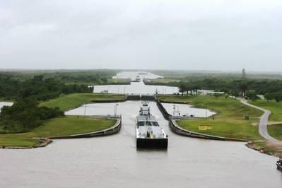 File photo: A tow exits the east lock of the Colorado River Lock system near Matagorda, Texas. (Credit Simon DeSoto, Colorado River lockmaster / courtesy U.S. Army Corps of Engineers)