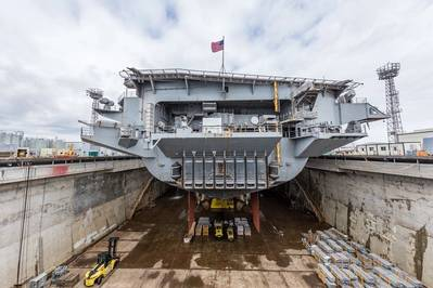 File photo: Aircraft carrier USS Nimitz (CVN 68) in dry dock at Puget Sound Naval Shipyard & Intermediate Maintenance Facility in Bremerton, Wash., in 2018. (U.S. Navy photo by Thiep Van Nguyen II)