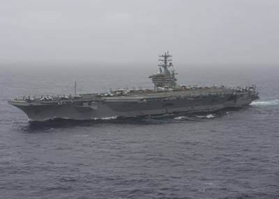 File photo: Aircraft carrier USS Nimitz (CVN 68) transits the Arabian Sea in August 2020. (U.S. Navy photo by Elliot Schaudt)