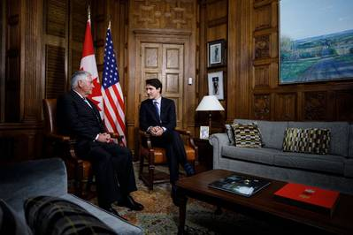 File photo: Canadian Prime Minister Justin Trudeau meets with U.S. Secretary of State Rex Tillerson in Ottawa in December 2017 (Photo: Government of Canada)