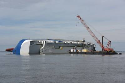 File photo: Golden Ray sits grounded in St. Simons Sound, Ga. in February 2020. The vessel will be cut into eight large sections, removed and recycled. (Photo: Brian McCrum / U.S. Coast Guard)