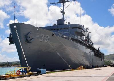 File photo: Submarine tender USS Emory S. Land (AS 39) (U.S. Navy photo by Shannon Burns)