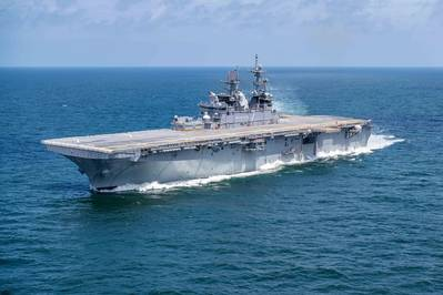 File photo: The Ingalls-built amphibious assault ship Tripoli (LHA 7) sailed the Gulf of Mexico for four days last week on builder's sea trials in 2019. (Photo by Derek Fountain/HII)