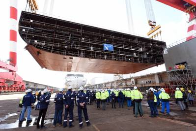 File photo: The keel laying ceremony was held for Wonder of the Seas at the Chantiers de l'Atlantique shipyard n October 2019. (Photo: Bernard Biger –Chantiers de l'Atlantique)